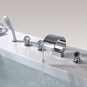 cheap Bathtub Faucets-Bathtub Faucet - Contemporary Chrome Widespread Brass Valve Bath Shower Mixer Taps