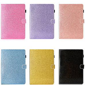 cheap Samsung Case-Case For Samsung Galaxy Samsung Tab A 10.1(2019)T510 Card Holder / Shockproof / with Stand Full Body Cases Solid Colored / Glitter Shine Hard PU Leather