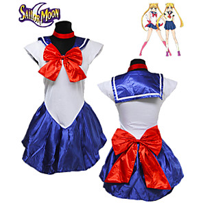 cheap Anime Costumes-Inspired by Sailor Moon Cosplay Anime Cosplay Costumes Japanese Cosplay Suits Solid Colored Sleeveless Dress Gloves Headwear For Women's / Neckwear / Neckwear