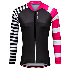 cheap Cycling Jerseys-WOSAWE Women's Long Sleeve Cycling Jersey Winter Polyester Black Bike Jersey Top Mountain Bike MTB Road Bike Cycling Sports Clothing Apparel / Stretchy / Advanced / Advanced