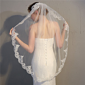 cheap Wedding Veils-One-tier Classic Style / Lace Applique Edge Wedding Veil Fingertip Veils with Appliques 39.37 in (100cm) Lace / Tulle / Oval