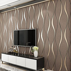 cheap Wall Stickers-Striped Home Decoration Vintage Wall Covering, Nonwoven Material Adhesive required Wallpaper, Room Wallcovering