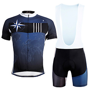 cheap Cycling Jersey & Shorts / Pants Sets-ILPALADINO Men's Short Sleeve Cycling Jersey with Bib Shorts Dark Blue Bike Bib Shorts Jersey Clothing Suit Breathable 3D Pad Quick Dry Ultraviolet Resistant Reflective Strips Sports Lycra Nature
