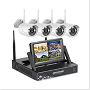 cheap NVR Kits-4CH 1080P 7LCD Screen Monitor HD Wireless NVR Kit Wifi ip Kit  CCTV Surveillance Security System