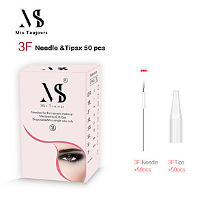 cheap Permanent Makeup Kits-50pcs 3F Permanent Makeup Needles And Tips For Microblading Machine Pen Forever Beauty Tattoo Accessories