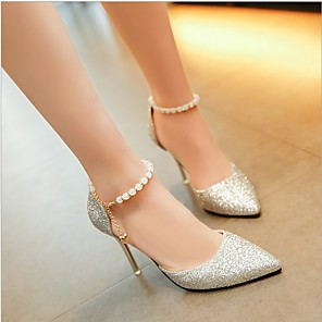 cheap Women's Heels-Women's Heels Spring / Summer Ankle Strap Heel Pointed Toe Classic Daily Pearl Solid Colored PU Walking Shoes Black / Gold / Silver