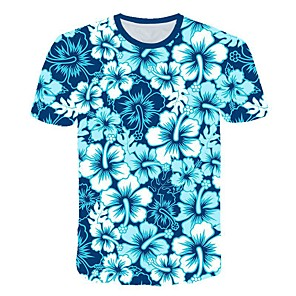 cheap Bluetooth Car Kit/Hands-free-Men's 3D Graphic Print Slim T-shirt Daily Round Neck Blue / Short Sleeve