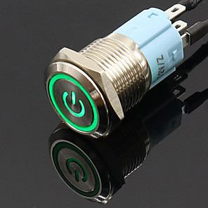 cheap Car Charger-16mm 12V Metal Push Button Switch LED Power Locking Latching Self-reset Switch