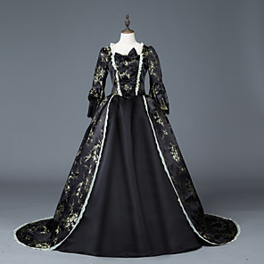 cheap Historical & Vintage Costumes-Princess Maria Antonietta Floral Style Rococo Victorian Renaissance Dress Party Costume Masquerade Women's Lace Lace Costume Black Vintage Cosplay Christmas Halloween Party / Evening 3/4 Length Sleeve