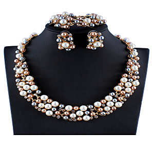 cheap Jewelry Sets-Women's White Multicolor Bridal Jewelry Sets Link / Chain Flower Gypsophila Luxury Vintage Colorful Imitation Pearl Rhinestone Earrings Jewelry White / Rainbow For Wedding Party Engagement Holiday