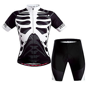 cheap Cycling Jersey & Shorts / Pants Sets-WOSAWE Men's Women's Short Sleeve Cycling Jersey with Shorts Black / White Skeleton Bike Clothing Suit Breathable Quick Dry Back Pocket Sweat-wicking Sports Polyester Skeleton Mountain Bike MTB Road