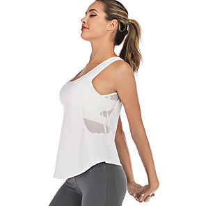 cheap Exercise, Fitness & Yoga Clothing-Women's Yoga Built In Bra Tank Winter Patchwork Removable Pad Fashion Light Grey White Black Mesh Running Fitness Gym Workout Vest / Gilet Sleeveless Sport Activewear Breathable Quick Dry Soft