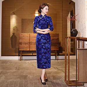 cheap Ethnic & Cultural Costumes-Adults Women's Chinese Style Chinese Style Cheongsam Qipao For Corporate Clothing Club Uniforms Cotton / Polyester Blend Long Length Cheongsam