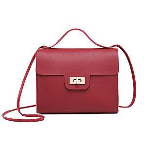 povoljno Tote torbe-Žene PU koža Torba s ručkom Jedna barva Crn / Blushing Pink / Red / Jesen zima