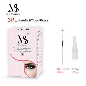 cheap Permanent Makeup Kits-50pcs 3RL Permanent Makeup Needles And Tips For Microblading Machine Pen Forever Beauty Tattoo Accessories