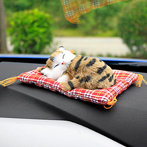 cheap Car Pendants & Ornaments-Car Ornaments Cute Simulation Sleeping Cats Decoration Automobiles Lovely Plush Kittens Doll Toy