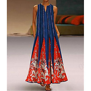 cheap Historical & Vintage Costumes-Women's Plus Size Tunic Maxi long Dress - Sleeveless Tribal Print Summer V Neck Casual Holiday Vacation 2020 White Black Blue Red Green S M L XL XXL XXXL XXXXL XXXXXL
