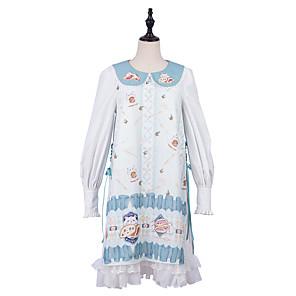 cheap Lolita Dresses-Patterned Lace Up Cute Dress Blouse / Shirt All Velvet Chiffon Japanese Cosplay Costumes Light Blue Print Animal Lace Bishop Sleeve Long Sleeve Midi Knee Length
