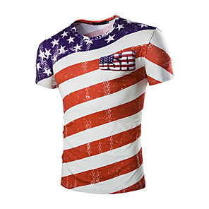 cheap Ethnic & Cultural Costumes-Adults' Men's Cosplay American Flag Cosplay Costume T-shirt For Halloween Daily Wear Cotton Independence Day T-shirt