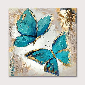 cheap Floral/Botanical Paintings-Oil Painting Hand Painted Animals Pop Art Modern Stretched Canvas With Stretched Frame