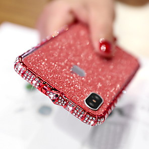 cheap iPhone Cases-Case For Apple iPhone XS / iPhone XR / iPhone XS Max Rhinestone / Glitter Shine Back Cover Glitter Shine Hard Metal