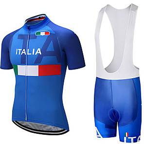 cheap Cycling Jersey & Shorts / Pants Sets-21Grams Italy National Flag Men's Short Sleeve Cycling Jersey with Bib Shorts - Blue / White Bike Clothing Suit Breathable Moisture Wicking Quick Dry Sports Terylene Polyester Taffeta Mountain Bike