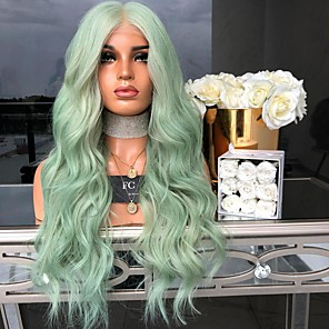 cheap Synthetic Lace Wigs-Synthetic Wig Body Wave Asymmetrical Wig Long Mint Green Synthetic Hair 27 inch Women's Green