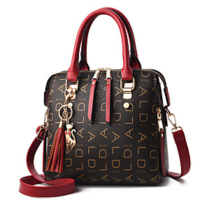 cheap Handbag & Totes-Women's Zipper / Tassel PU(Polyurethane) / PU Top Handle Bag Solid Color Black / Wine / Purple / Fall & Winter