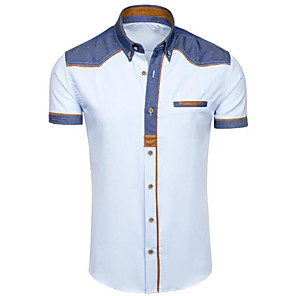 cheap Cell Phones-Men's Solid Colored Shirt Basic Daily Classic Collar White / Black / Light Blue / Short Sleeve