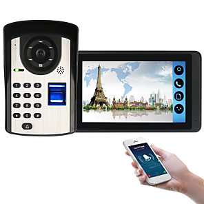 cheap Video Door Phone Systems-618FD11 7 inch capacitive touch screen video camera wired video doorbell wifi / 3G / 4G remote call / fingerprint / password / remote control unlock video intercom one to one