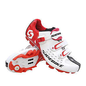 hesapli Bisiklet Ayakkabıları-SIDEBIKE Dağ Bisikleti Ayakkabıları Su Geçirmez Nefes Alabilir Anti-Kayma Bisiklet Siyah Kırmzı Yeşil Erkek Bisiklet Ayakkabıları / Tamponlama / Havalandırma / Tamponlama / Havalandırma