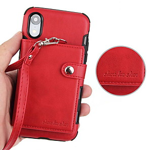 cheap iPhone Cases-Case For Apple iPhone XS / iPhone XR / iPhone XS Max Wallet / Card Holder / with Stand Back Cover Solid Colored Hard PU Leather
