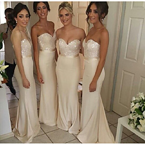 cheap Evening Dresses-Mermaid / Trumpet Sweetheart Neckline Sweep / Brush Train Satin Bridesmaid Dress with Sequin