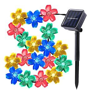 cheap LED String Lights-LOENDE 7m Flower String Lights 50 LEDs Dip Led Warm White RGB White Waterproof Solar Powered for Christmas Thanksgiving