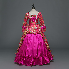 cheap Historical & Vintage Costumes-Princess Maria Antonietta Floral Style Rococo Victorian Renaissance Dress Party Costume Masquerade Women's Lace Costume Fuschia Vintage Cosplay Christmas Halloween Party / Evening 3/4 Length Sleeve