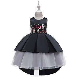 お買い得  女児 ドレス-子供 幼児 女の子 活発的 かわいいスタイル フラワー カラーブロック チェック レース リボン フリル ノースリーブ 膝丈 ドレス ブラック