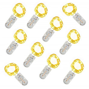 cheap LED String Lights-10pcs Fairy Lights 1M 10LED Wedding Party Decoration Led Christmas Copper String Light CR2032 Battery Operated