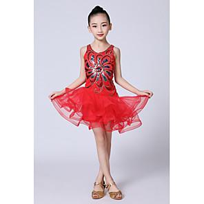 povoljno Dječja plesna oprema-Latino ples Dječja plesna odjeća Haljina Satin Bow Perlica Nabori Djevojčice Seksi blagdanski kostimi Bez rukávů Prirodno Organza