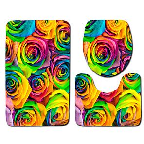 cheap Wall Stickers-1 set Classic Bath Mats 100g / m2 Polyester Knit Stretch Geometric / Novelty / Floral Print Creative / Non-Slip