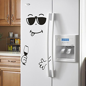 cheap Wall Stickers-Premium 4 Styles Smile Face Wall Sticker Happy Delicious Face Fridge Stickers Yummy for Food Furniture Decoration Art Poster DIY PVC