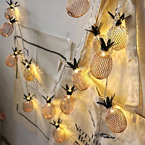 cheap LED String Lights-1.5m Pineapple String Lights 10 LEDs EL Warm White New Design / Party / Thanksgiving Christmas Decoration AA Batteries Powered 1pc