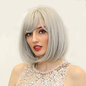 cheap Synthetic Trendy Wigs-Synthetic Wig kinky Straight Natural Straight Bob Asymmetrical Neat Bang Wig Medium Length Silver White Synthetic Hair 12 inch Women's Synthetic Sexy Lady Lovely Silver White HAIR CUBE
