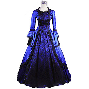 cheap Lolita Dresses-Princess Maria Antonietta Floral Style Rococo Victorian Renaissance Dress Party Costume Masquerade Women's Lace Costume Blue Vintage Cosplay Christmas Halloween Party / Evening 3/4 Length Sleeve