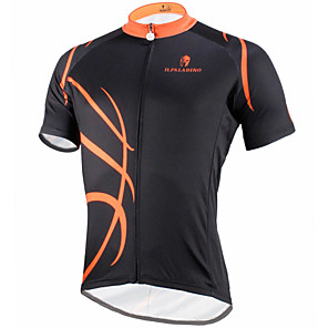 cheap Cycling Jerseys-ILPALADINO Men's Short Sleeve Cycling Jersey Polyester Black / Orange Bike Jersey Top Mountain Bike MTB Road Bike Cycling Breathable Quick Dry Ultraviolet Resistant Sports Clothing Apparel / Stretchy