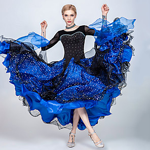 cheap Ballroom Dancewear-Ballroom Dance Dress Split Joint Crystals / Rhinestones Paillette Women's Training Performance 3/4-Length Sleeve Tulle Ice Silk