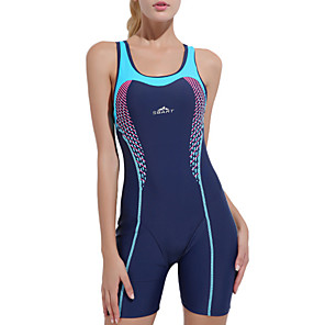cheap Wetsuits, Diving Suits & Rash Guard Shirts-Women's One Piece Swimsuit Patchwork Bodysuit Swimwear Blue Chlorine resistance Comfortable Sports Sleeveless - Swimming Spring, Fall, Winter, Summer / Spandex / Nylon