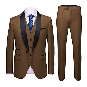 cheap Custom Suits-Tuxedos Slim Fit Shawl Collar Single Breasted One-button Polyester Solid Colored / Fashion