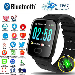 cheap Smartwatches-A6S Smart Wristband Watch Heart Rate Monitor Blood Pressure Activity Fitness Tracker Bracelet Smart Band for IOS Android