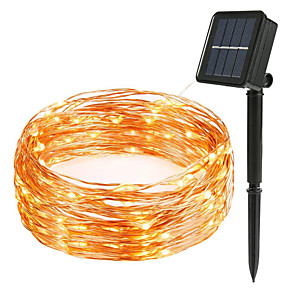 cheap LED String Lights-LOENDE 10m String Lights 100 LEDs Warm White RGB White Waterproof Solar Party Solar Powered