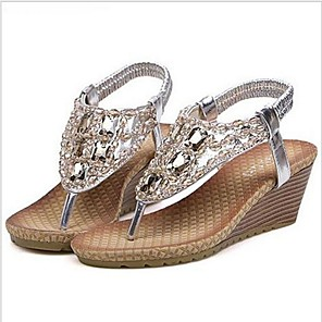 cheap Women's Sandals-Women's Sandals Wedge Sandals Comfort Shoes Summer Wedge Heel Open Toe Comfort Sweet Daily Rhinestone Solid Colored Synthetics Walking Shoes Gold / Silver / Coffee